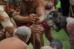 ` Церемонии старого изготовленного на заказ ` куря среди индигенных австралийцев которое включает горящие заводы для того чтобы п стоковые фото