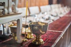 Церемония в вероисповедании буддизма для тайской свадьбы Стоковая Фотография RF