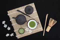 Церемония зеленого чая Matcha стоковая фотография