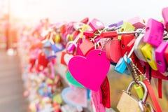 Церемония ключа влюбленности на башне n Сеула в городе Сеула, Корее Положение Стоковое Фото