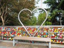 Церемония ключа влюбленности на парке Yongdusan Стоковая Фотография RF