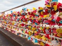 Церемония ключа влюбленности на парке Yongdusan Стоковые Фотографии RF