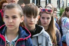 Церемония открытия взбираясь чемпионата - группы в составе дети Стоковая Фотография