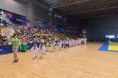 Церемония открытия--Конкуренция Тхэквондо восьмой чашки GoldenTeam дружелюбная Стоковая Фотография
