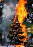 Церемония пожара в японском саде Стоковое фото RF