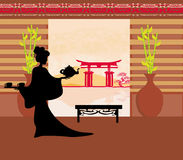 Церемония чая гейши иллюстрация вектора