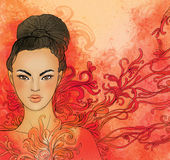 Церемония чая, предпосылка с японской девушкой бесплатная иллюстрация