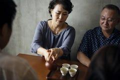 Церемония чая с друзьями японская культура Стоковое Изображение