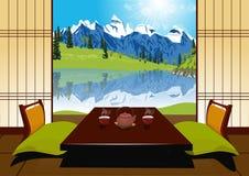 Церемония чая с чайником глины и 2 чашками иллюстрация штока