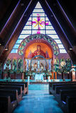 церковь алтара богато украшенный Стоковые Изображения