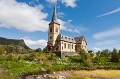 Церковь дальше lofoten острова, Норвегия Стоковое Фото