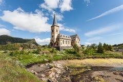 Церковь дальше lofoten острова, Норвегия Стоковые Фото