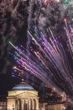 Церковь большой матери - Турин - Пьемонт - Италия - фейерверки на торжестве города St. John Стоковое фото RF