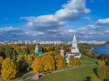 Церковь восхождения в Kolomenskoe - Москве России - вид с воздуха Стоковые Изображения RF