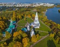 Церковь восхождения в Kolomenskoe - Москве России - вид с воздуха Стоковая Фотография RF