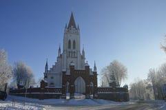 Церковь в зиме в Ä-nai ¡ KurÅ городка Стоковая Фотография RF