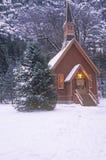 Церковь в зиме, долина Yosemite, Калифорния Стоковая Фотография