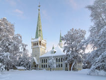 Церковь в зиме, Швеци Jokkmokk новая Стоковое Фото