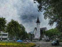 Церковь в искусстве Menteng цифровом Стоковое Фото