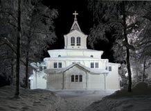 Церковь в ноче зимы, Швеци Gallivare Стоковое фото RF