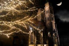 Церковь в Нюрнберге на ноче Стоковые Фотографии RF
