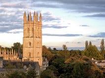 Церковь в Оксфорде в заходе солнца стоковая фотография rf