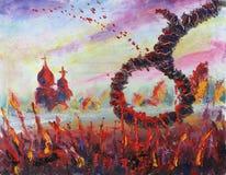 Церковь в петле поля, кровопролитная трава иллюстрация штока
