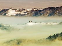 Церковь в тумане Стоковая Фотография