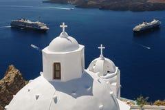 Церковь в Fira, Santorini Стоковое Фото