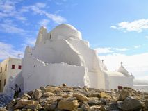 Церковь в Mykonos, греческих островах стоковое фото rf