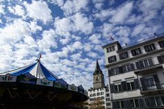 Церковь в Zuerich в Швейцарии стоковая фотография rf