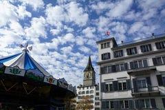 Церковь в Zuerich в Швейцарии Стоковое Фото