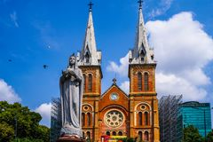 Церковь девой марии, saigon, Хошимин, Вьетнам стоковая фотография rf