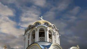 Церковь защиты матери бога на Yasenevo, Москве, России сток-видео