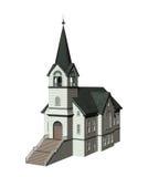 Церковь изолированная на белизне Стоковое фото RF