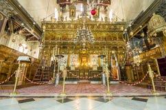 Церковь интерьера рождества, Вифлеем, Израиль Стоковые Изображения