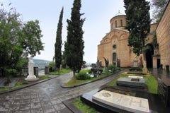 Церковь и пантеон St David писателей и общественных деятелей Georgia в городе Тбилиси, Georgia Стоковое фото RF