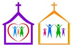 Церковь и семья иллюстрация штока