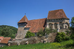 Церковь-крепость в румынском городке конематки Copsa Стоковые Изображения