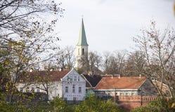 Церковь лютеранина Katerina Святого евангелистская в Kuldiga Латвии Стоковое Изображение