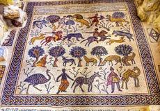 Церковь Моисей Джордан старой мозаики людей шестого века мемориальная Стоковое Фото