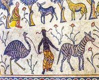 Церковь Моисей Джордан старой мозаики людей шестого века мемориальная Стоковая Фотография RF