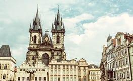 Церковь нашей дамы перед Tyn в Праге, чехии, старом fil Стоковое фото RF