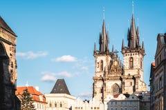 Церковь нашей дамы перед Tyn на Праге, чехии стоковые изображения rf