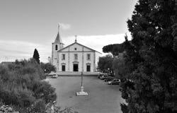 Церковь нашей дамы и позорного столба в черно-белом Стоковые Изображения RF