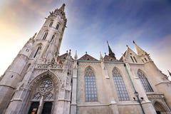 Церковь на ноче, Будапешт Matthias, Венгрия Стоковые Фото