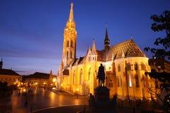Церковь на ноче, Будапешт Matthias, Венгрия Стоковое Изображение RF