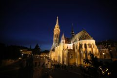 Церковь на ноче, Будапешт Matthias, Венгрия Стоковые Фотографии RF