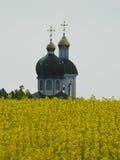 Церковь поля с рапсом Стоковые Изображения RF