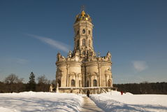 Церковь нашей дамы (Znamenskaya) в Dubrovitsy Стоковая Фотография RF